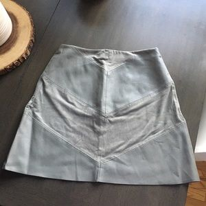 Zara Suede Leather Skirt - Small, Sage A Line
